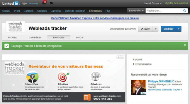 LinkedIn Product Page Variation et Web Tracking